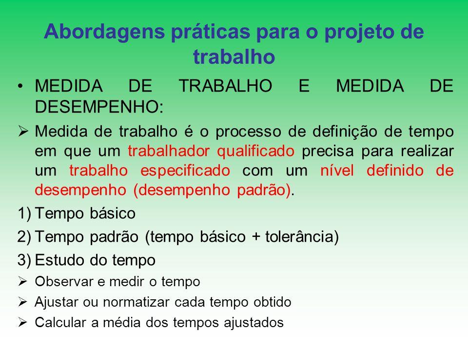 Abordagens práticas para o projeto de trabalho MEDIDA DE TRABALHO E MEDIDA DE DESEMPENHO: Medida de trabalho é o processo de definição de tempo em que