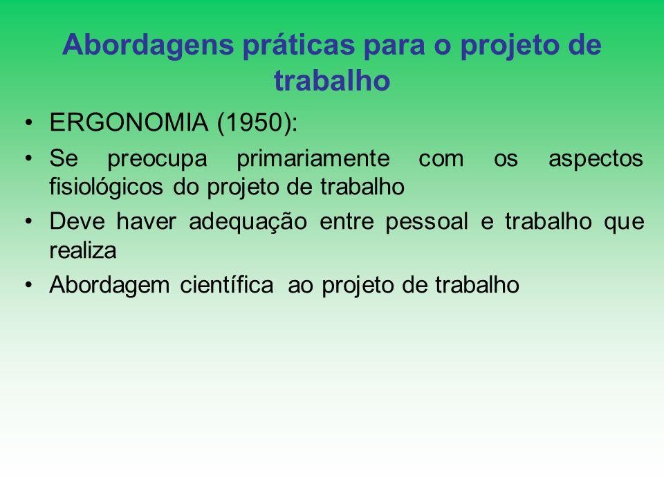 Abordagens práticas para o projeto de trabalho ERGONOMIA (1950): Se preocupa primariamente com os aspectos fisiológicos do projeto de trabalho Deve ha