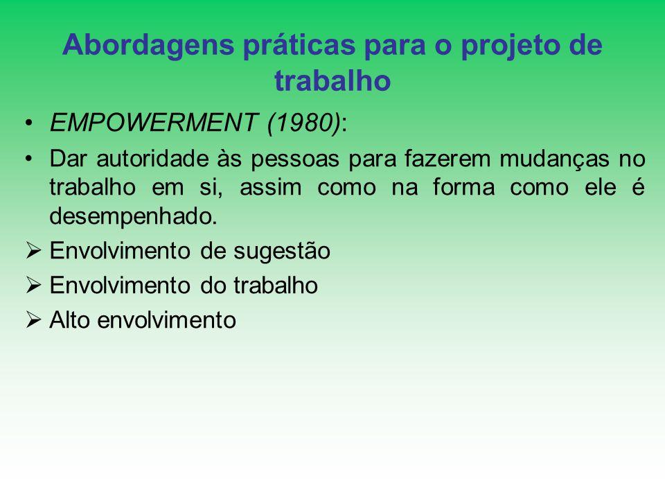 Abordagens práticas para o projeto de trabalho EMPOWERMENT (1980): Dar autoridade às pessoas para fazerem mudanças no trabalho em si, assim como na fo