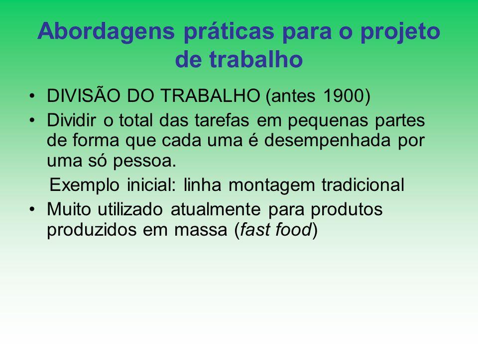 Abordagens práticas para o projeto de trabalho DIVISÃO DO TRABALHO (antes 1900) Dividir o total das tarefas em pequenas partes de forma que cada uma é