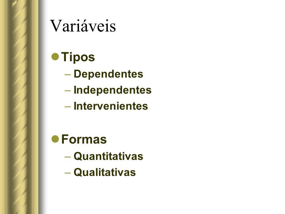 Variáveis Tipos –Dependentes –Independentes –Intervenientes Formas –Quantitativas –Qualitativas