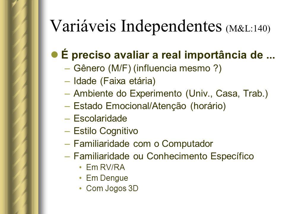 Variáveis Independentes (M&L:140) É preciso avaliar a real importância de... –Gênero (M/F) (influencia mesmo ?) –Idade (Faixa etária) –Ambiente do Exp