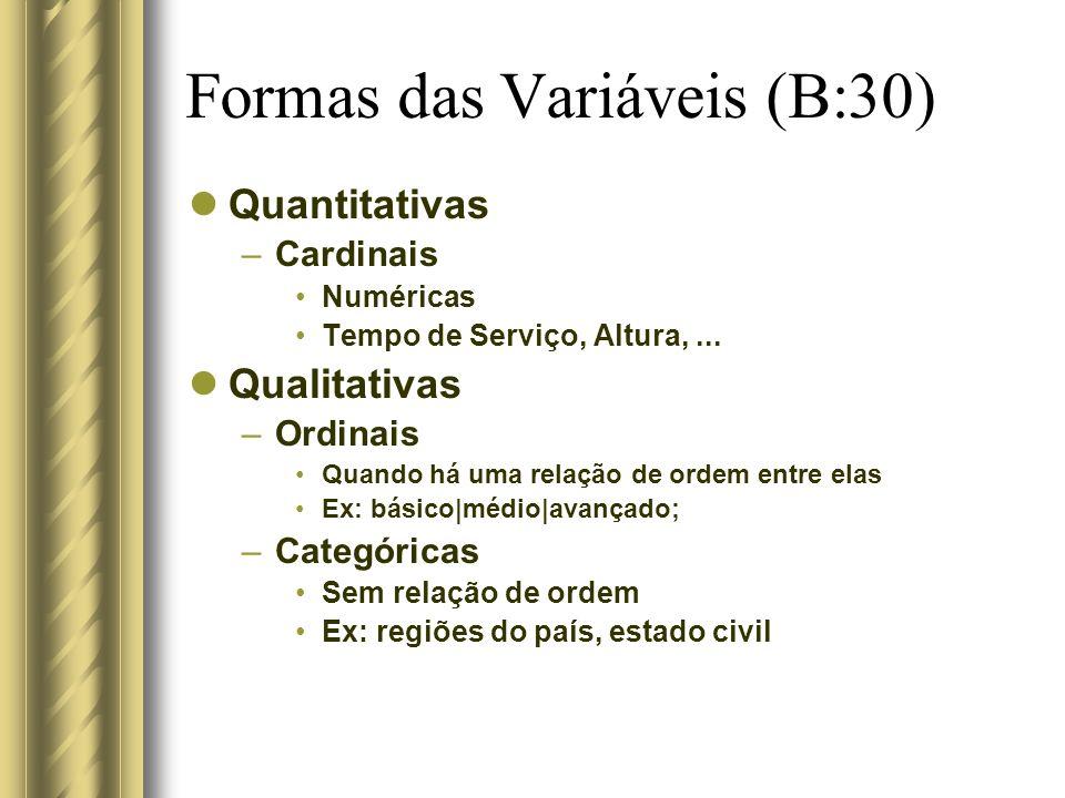 Formas das Variáveis (B:30) Quantitativas –Cardinais Numéricas Tempo de Serviço, Altura,... Qualitativas –Ordinais Quando há uma relação de ordem entr