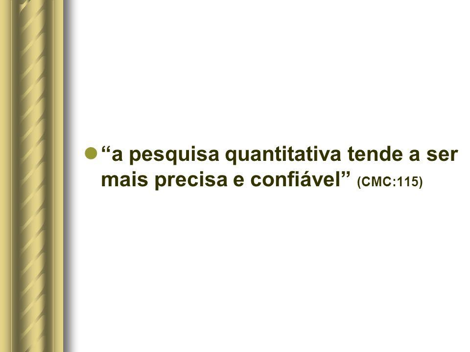 a pesquisa quantitativa tende a ser mais precisa e confiável (CMC:115)