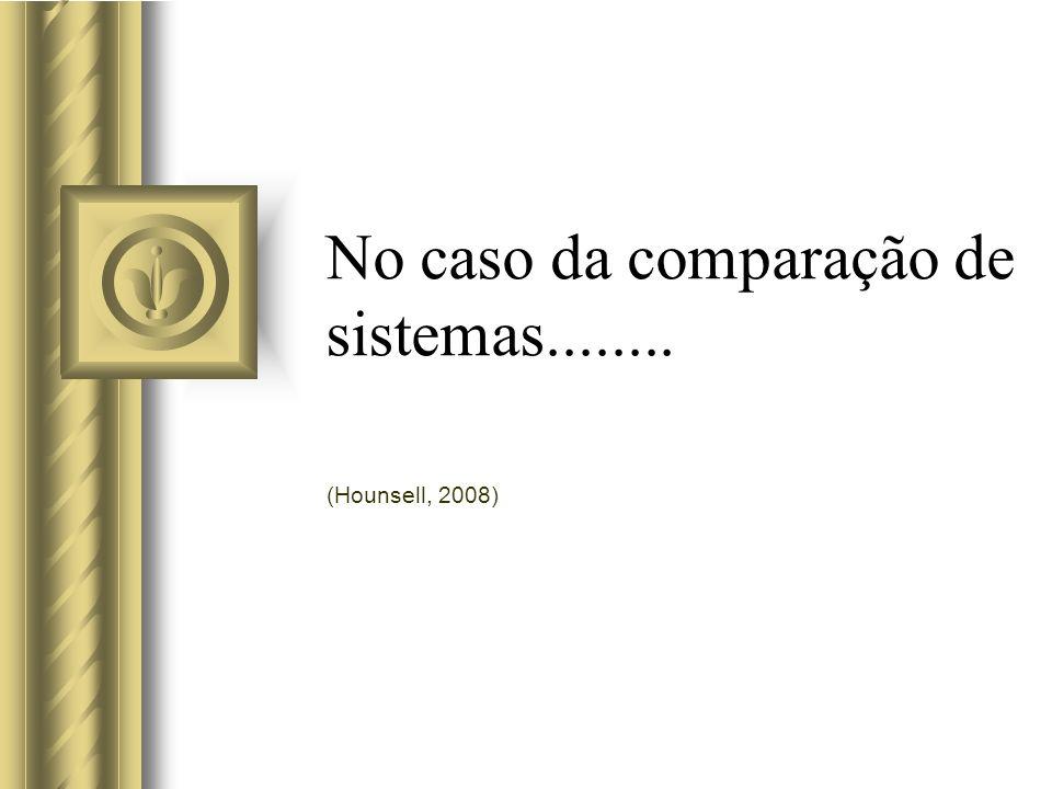 No caso da comparação de sistemas........ (Hounsell, 2008)
