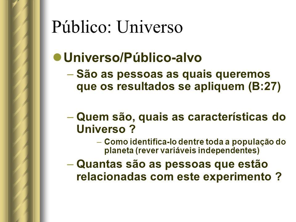 Público: Universo Universo/Público-alvo –São as pessoas as quais queremos que os resultados se apliquem (B:27) –Quem são, quais as características do