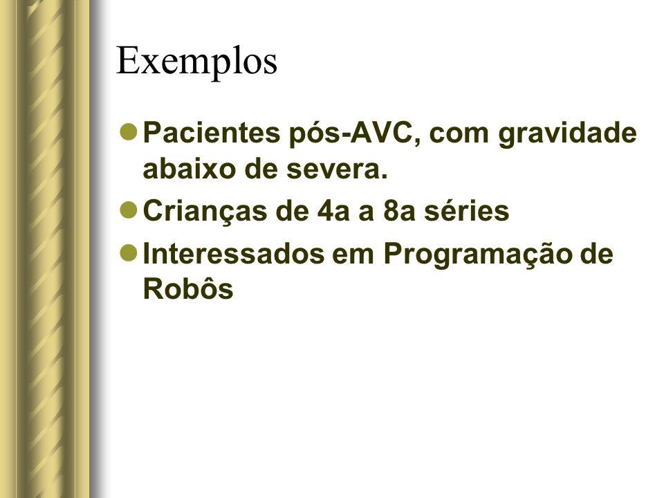 Exemplos Pacientes pós-AVC, com gravidade abaixo de severa. Crianças de 4a a 8a séries Interessados em Programação de Robôs