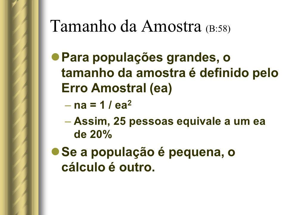 Tamanho da Amostra (B:58) Para populações grandes, o tamanho da amostra é definido pelo Erro Amostral (ea) –na = 1 / ea 2 –Assim, 25 pessoas equivale