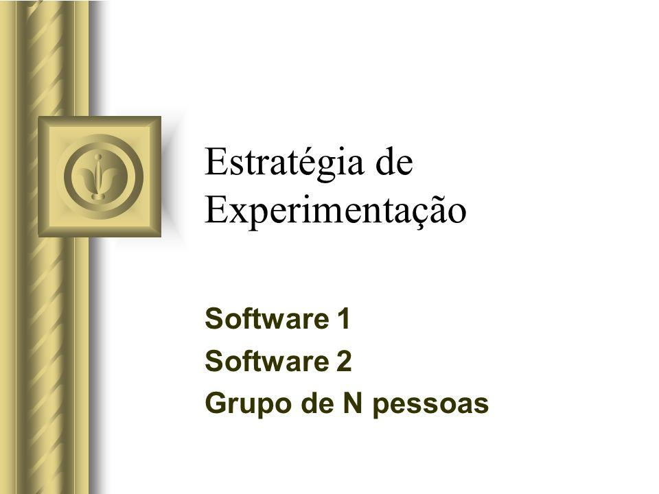 Estratégia de Experimentação Software 1 Software 2 Grupo de N pessoas