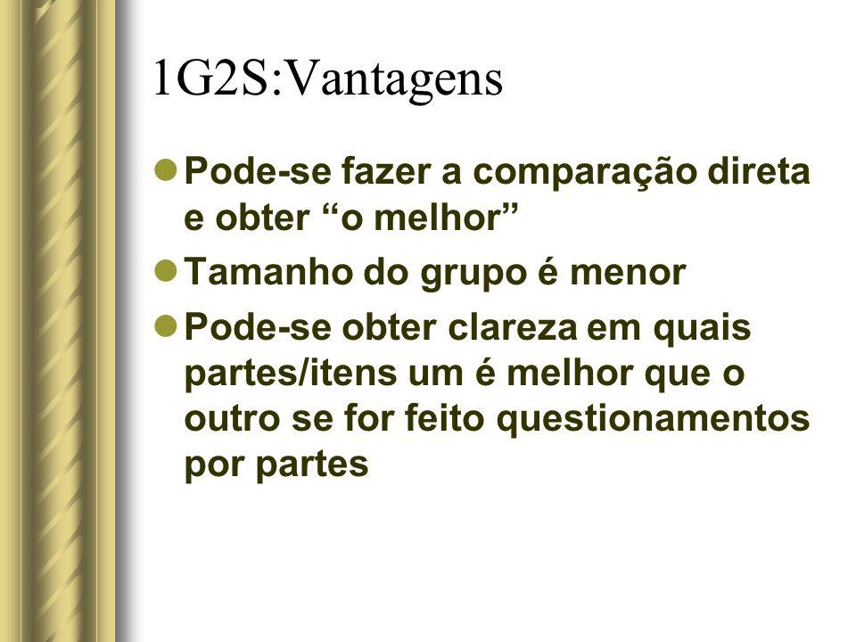 1G2S:Vantagens Pode-se fazer a comparação direta e obter o melhor Tamanho do grupo é menor Pode-se obter clareza em quais partes/itens um é melhor que