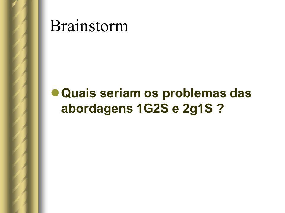 Brainstorm Quais seriam os problemas das abordagens 1G2S e 2g1S ?