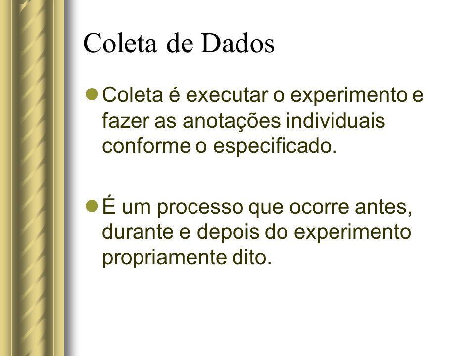 Coleta de Dados Coleta é executar o experimento e fazer as anotações individuais conforme o especificado. É um processo que ocorre antes, durante e de