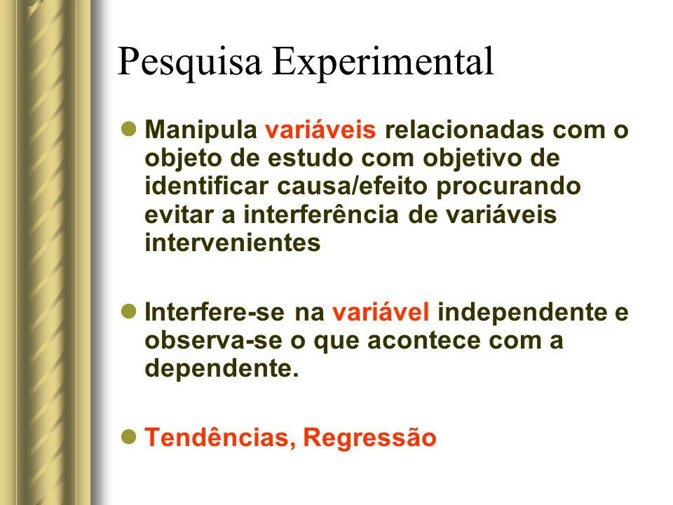 Pesquisa Experimental Manipula variáveis relacionadas com o objeto de estudo com objetivo de identificar causa/efeito procurando evitar a interferênci