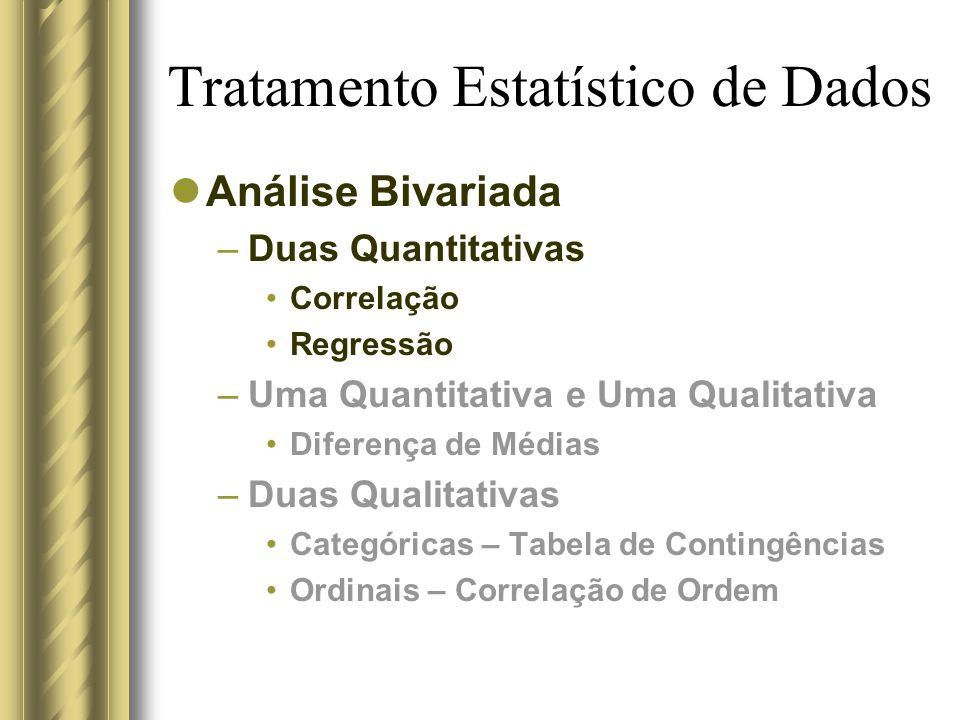 Tratamento Estatístico de Dados Análise Bivariada –Duas Quantitativas Correlação Regressão –Uma Quantitativa e Uma Qualitativa Diferença de Médias –Du