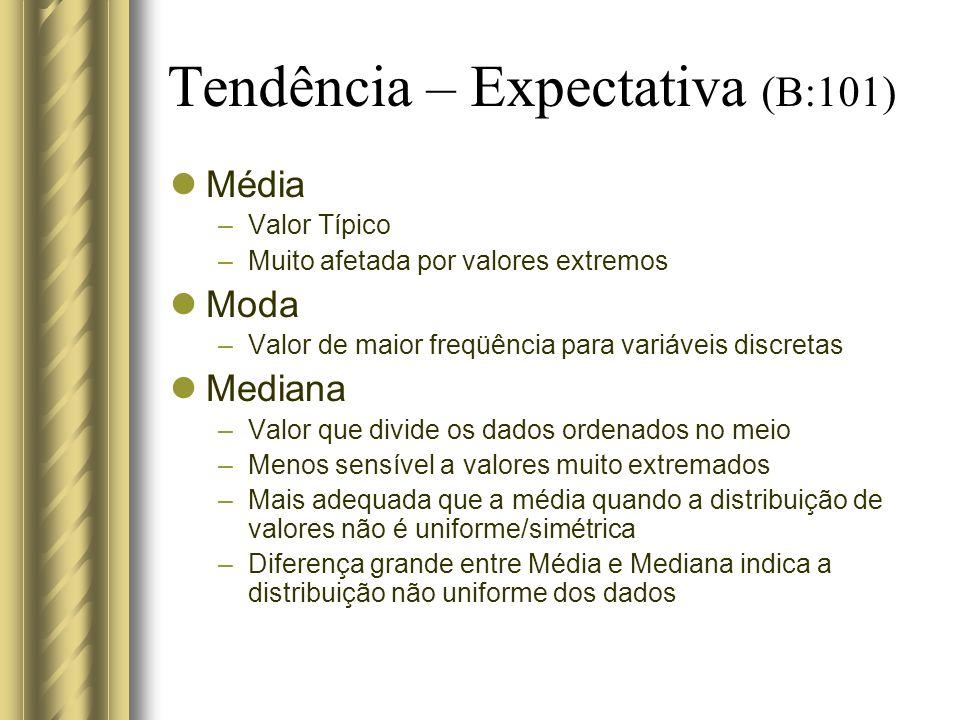 Tendência – Expectativa (B:101) Média –Valor Típico –Muito afetada por valores extremos Moda –Valor de maior freqüência para variáveis discretas Media