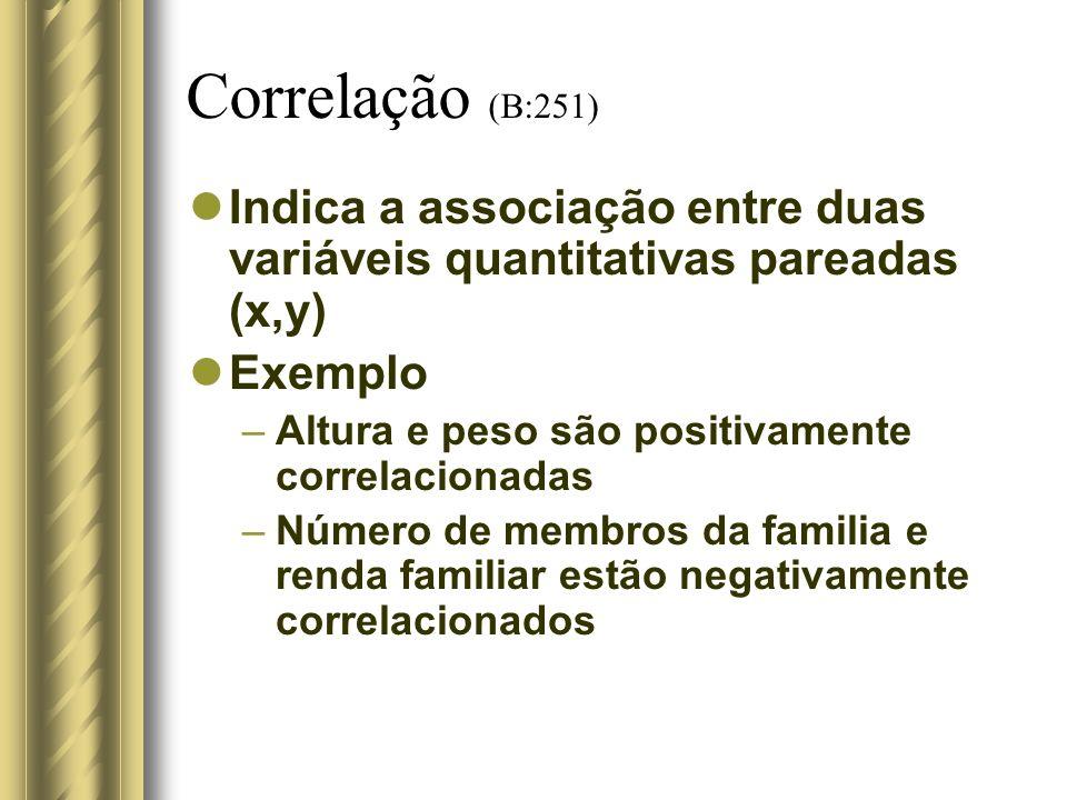 Correlação (B:251) Indica a associação entre duas variáveis quantitativas pareadas (x,y) Exemplo –Altura e peso são positivamente correlacionadas –Núm