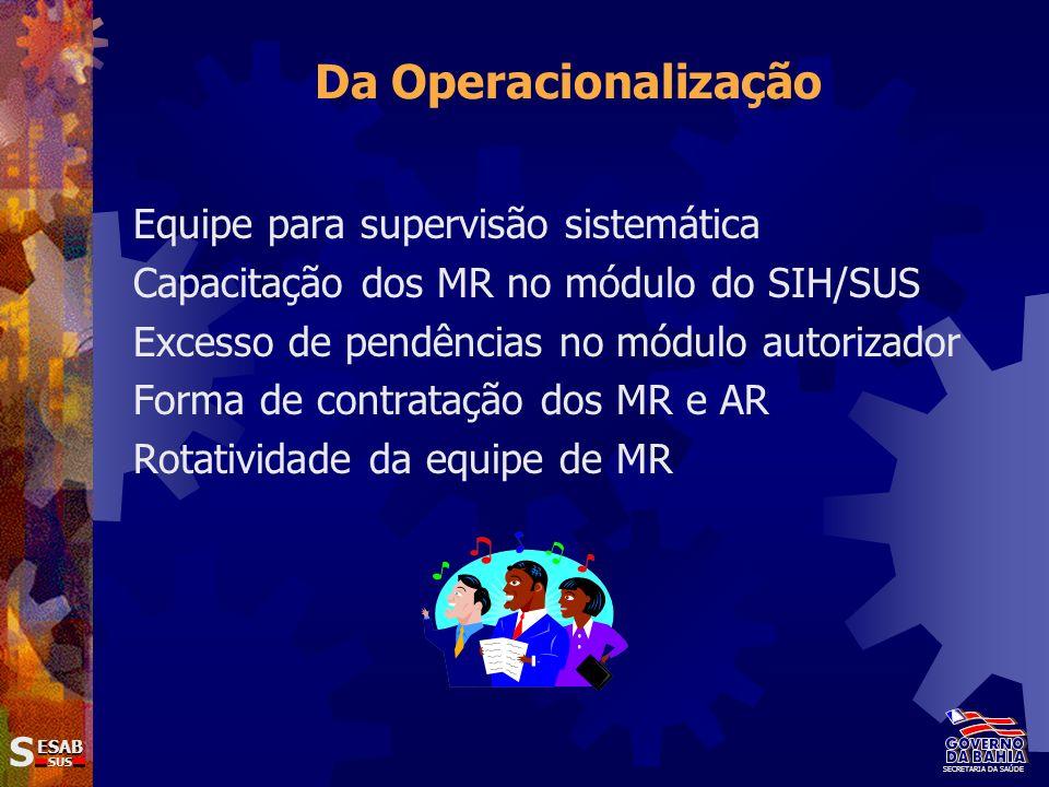 Da Operacionalização Equipe para supervisão sistemática Capacitação dos MR no módulo do SIH/SUS Excesso de pendências no módulo autorizador Forma de c