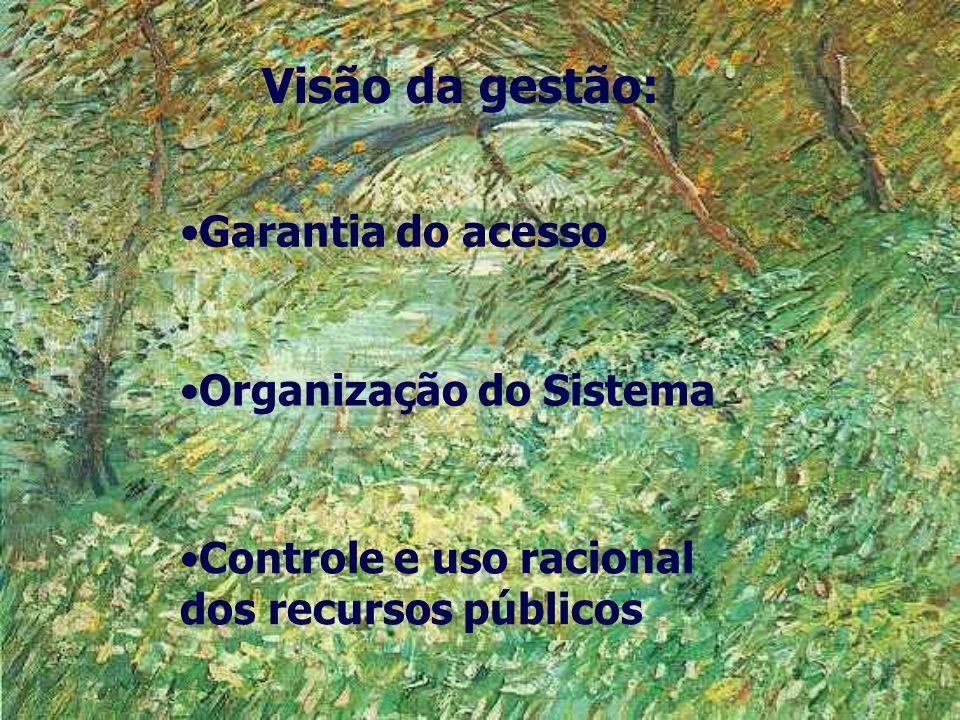 Visão da gestão: Garantia do acesso Organização do Sistema Controle e uso racional dos recursos públicos