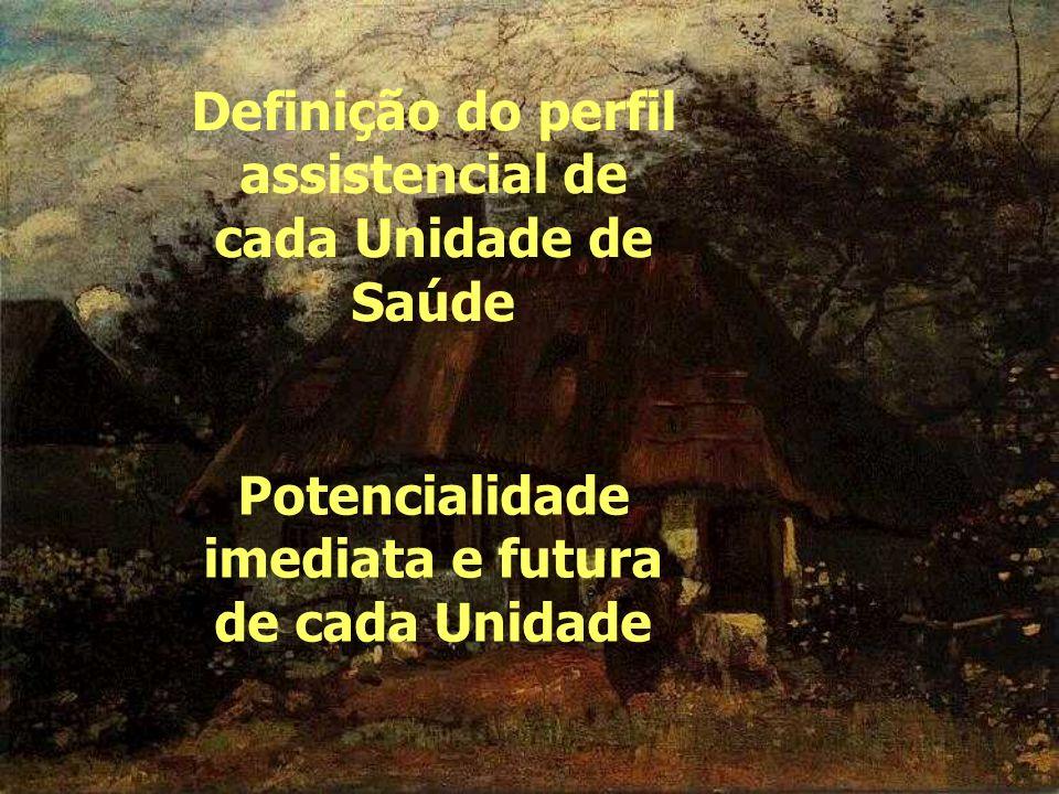 Definição do perfil assistencial de cada Unidade de Saúde Potencialidade imediata e futura de cada Unidade