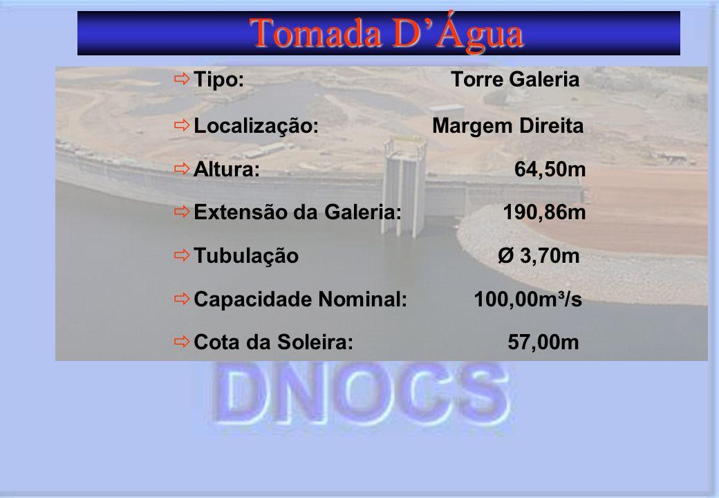Tomada DÁgua Tipo: Torre Galeria Localização: Margem Direita Altura: 64,50m Extensão da Galeria: 190,86m Tubulação Ø 3,70m Capacidade Nominal: 100,00m