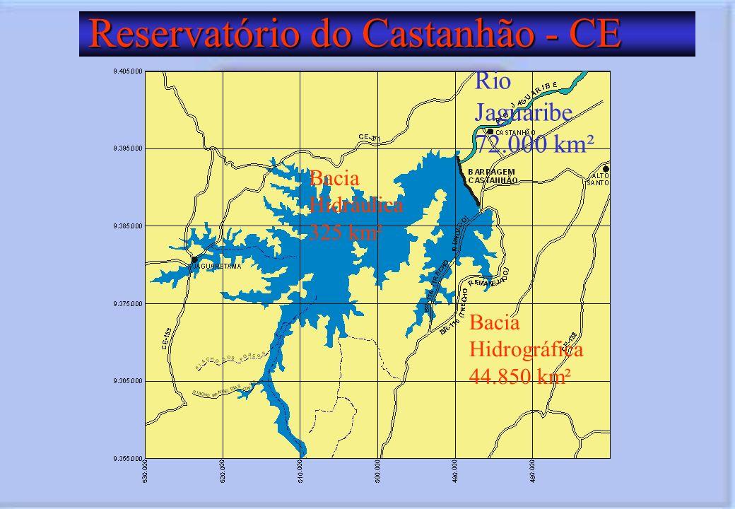 Reservatório do Castanhão - CE Reservatório do Castanhão - CE Bacia Hidráulica 325 km² Rio Jaguaribe 72.000 km² Bacia Hidrográfica 44.850 km²