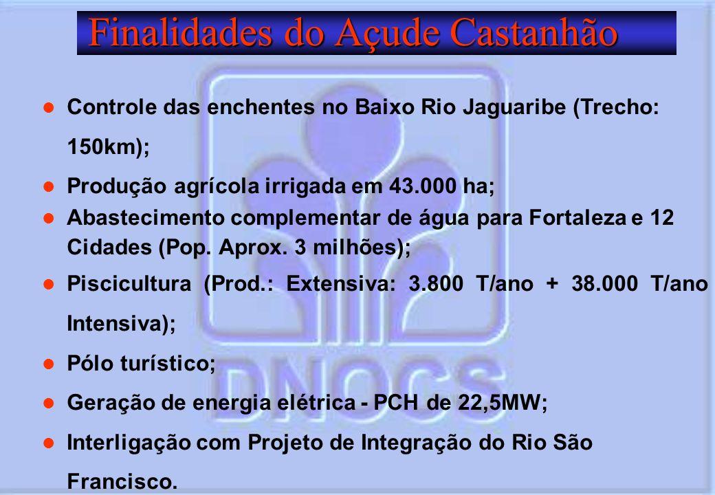 Finalidades do Açude Castanhão Finalidades do Açude Castanhão Controle das enchentes no Baixo Rio Jaguaribe (Trecho: 150km); Produção agrícola irrigad
