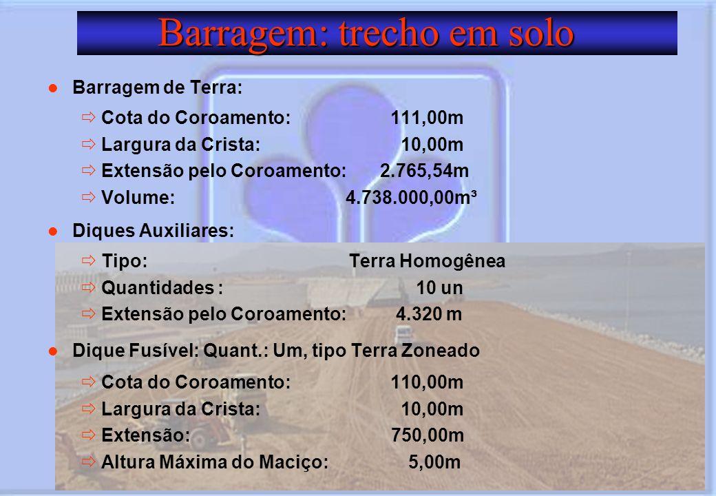 Barragem: trecho em solo Barragem: trecho em solo Barragem de Terra: Cota do Coroamento: 111,00m Largura da Crista: 10,00m Extensão pelo Coroamento: 2