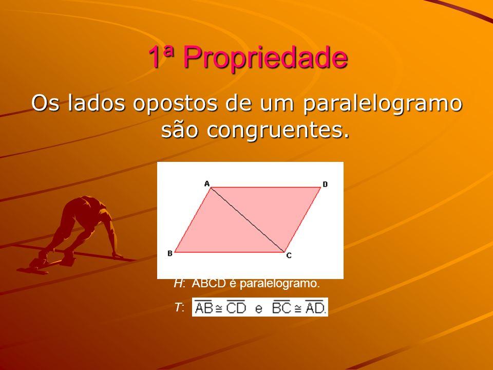 1ª Propriedade Os lados opostos de um paralelogramo são congruentes. H: ABCD é paralelogramo. T: