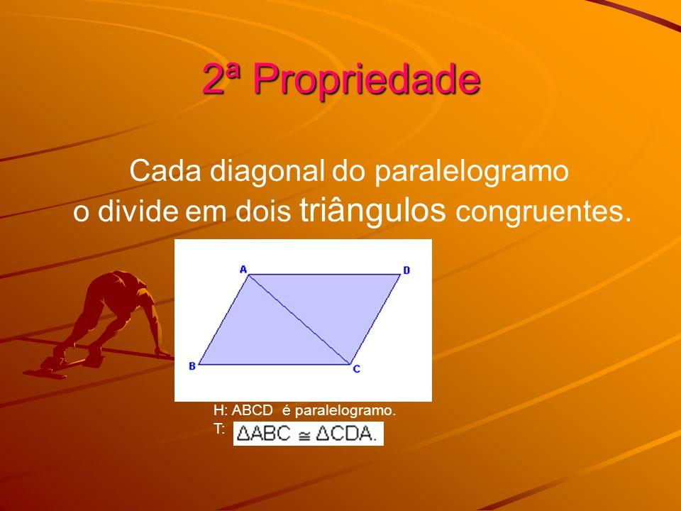 2ª Propriedade Cada diagonal do paralelogramo o divide em dois triângulos congruentes. H: ABCD é paralelogramo. T: