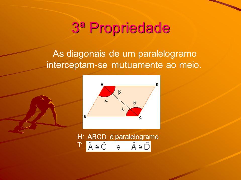 3ª Propriedade As diagonais de um paralelogramo interceptam-se mutuamente ao meio. H: ABCD é paralelogramo T: