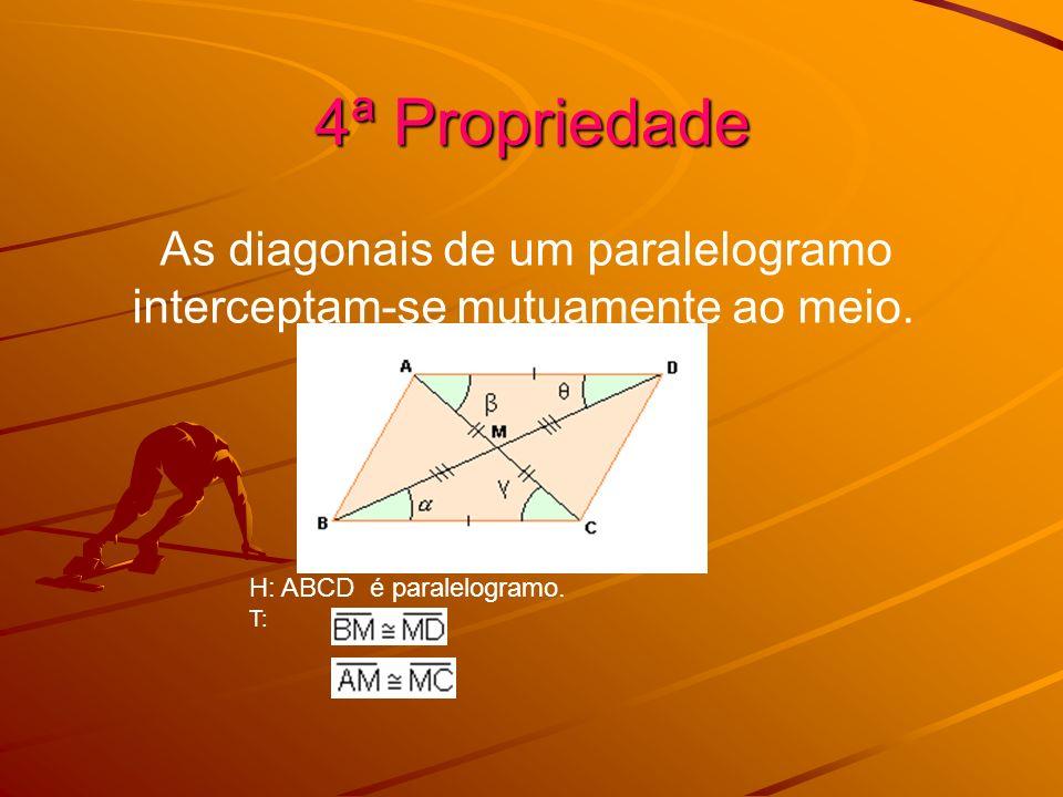4ª Propriedade As diagonais de um paralelogramo interceptam-se mutuamente ao meio. H: ABCD é paralelogramo. T: