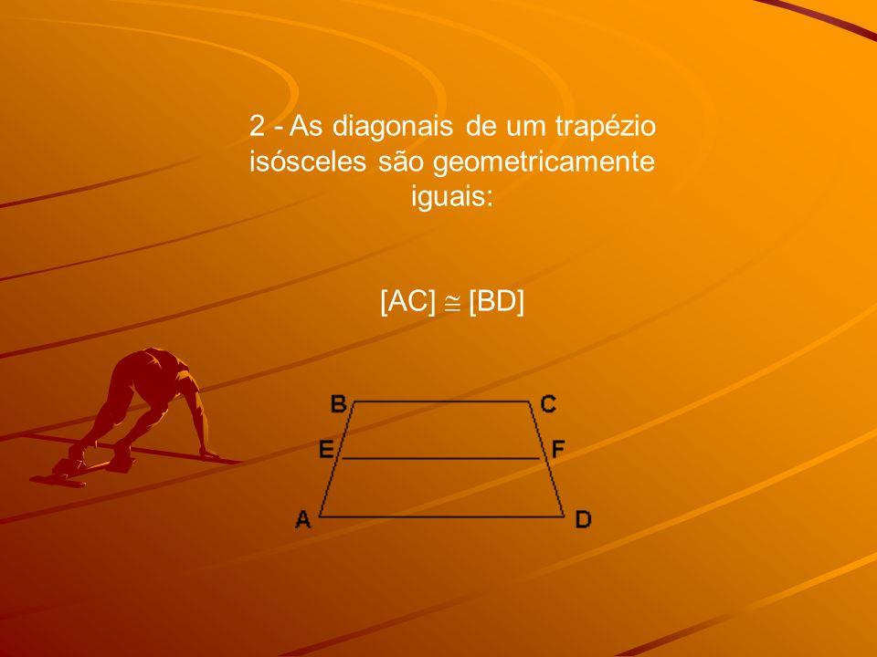 3 - A mediana de um trapézio isósceles é paralela às bases do trapézio e o seu comprimento é igual à semi-soma das bases: AD//BC//EF EF = AD + BC 2
