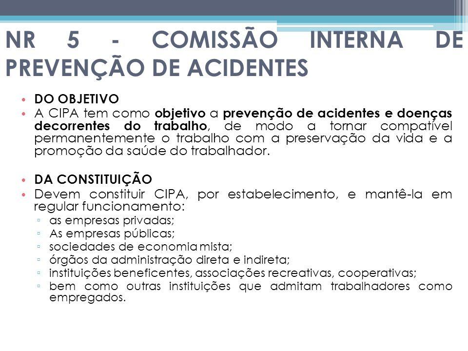 NR 5 - COMISSÃO INTERNA DE PREVENÇÃO DE ACIDENTES DO OBJETIVO A CIPA tem como objetivo a prevenção de acidentes e doenças decorrentes do trabalho, de modo a tornar compatível permanentemente o trabalho com a preservação da vida e a promoção da saúde do trabalhador.