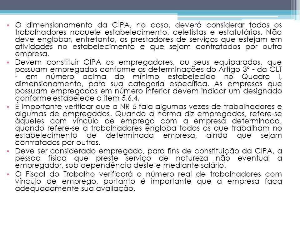 O dimensionamento da CIPA, no caso, deverá considerar todos os trabalhadores naquele estabelecimento, celetistas e estatutários.