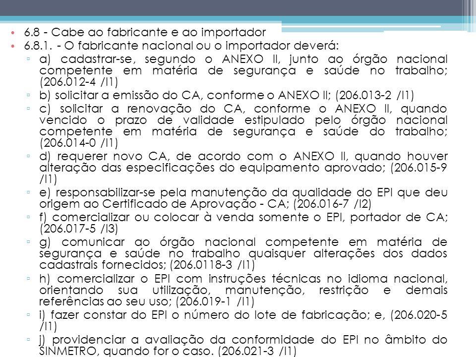 6.8 - Cabe ao fabricante e ao importador 6.8.1.