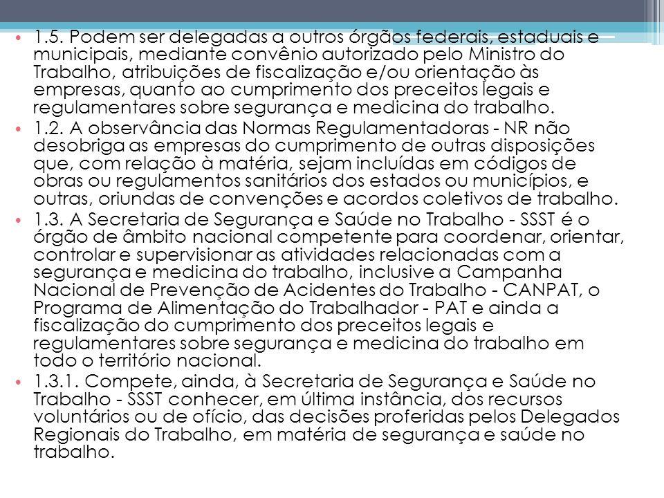 1.5. Podem ser delegadas a outros órgãos federais, estaduais e municipais, mediante convênio autorizado pelo Ministro do Trabalho, atribuições de fisc