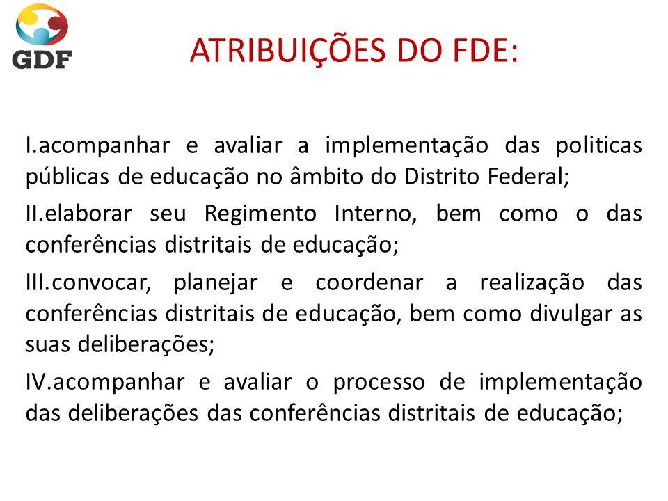ATRIBUIÇÕES DO FDE: I.acompanhar e avaliar a implementação das politicas públicas de educação no âmbito do Distrito Federal; II.elaborar seu Regimento
