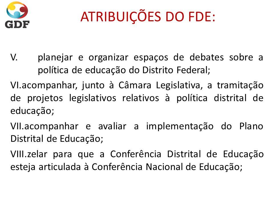 ATRIBUIÇÕES DO FDE: V.planejar e organizar espaços de debates sobre a política de educação do Distrito Federal; VI.acompanhar, junto à Câmara Legislat