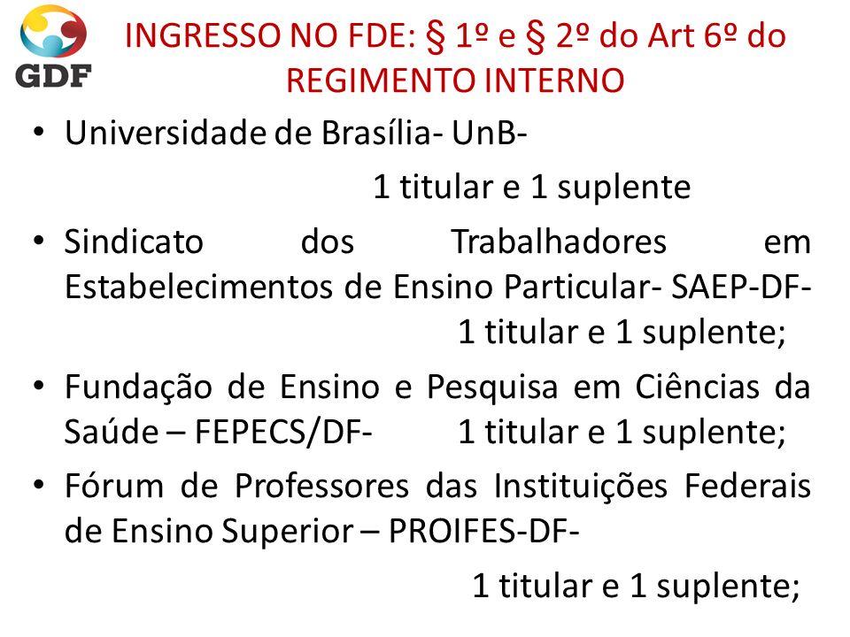 INGRESSO NO FDE: § 1º e § 2º do Art 6º do REGIMENTO INTERNO Universidade de Brasília- UnB- 1 titular e 1 suplente Sindicato dos Trabalhadores em Estab