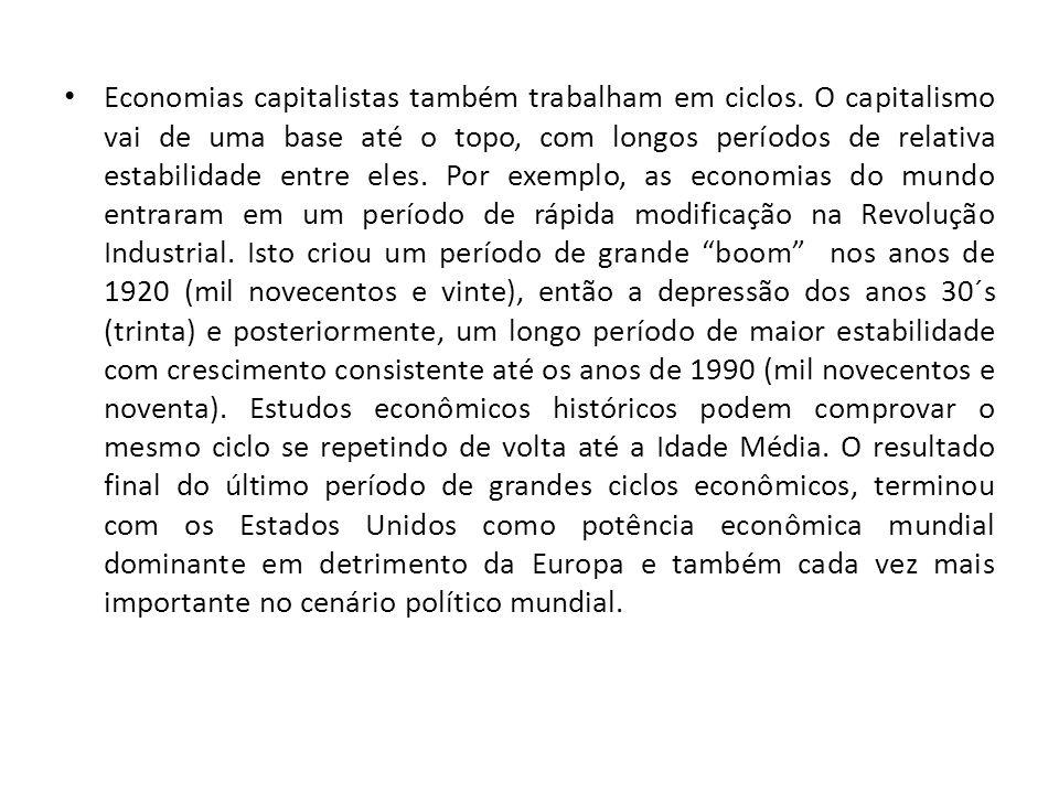 Economias capitalistas também trabalham em ciclos. O capitalismo vai de uma base até o topo, com longos períodos de relativa estabilidade entre eles.