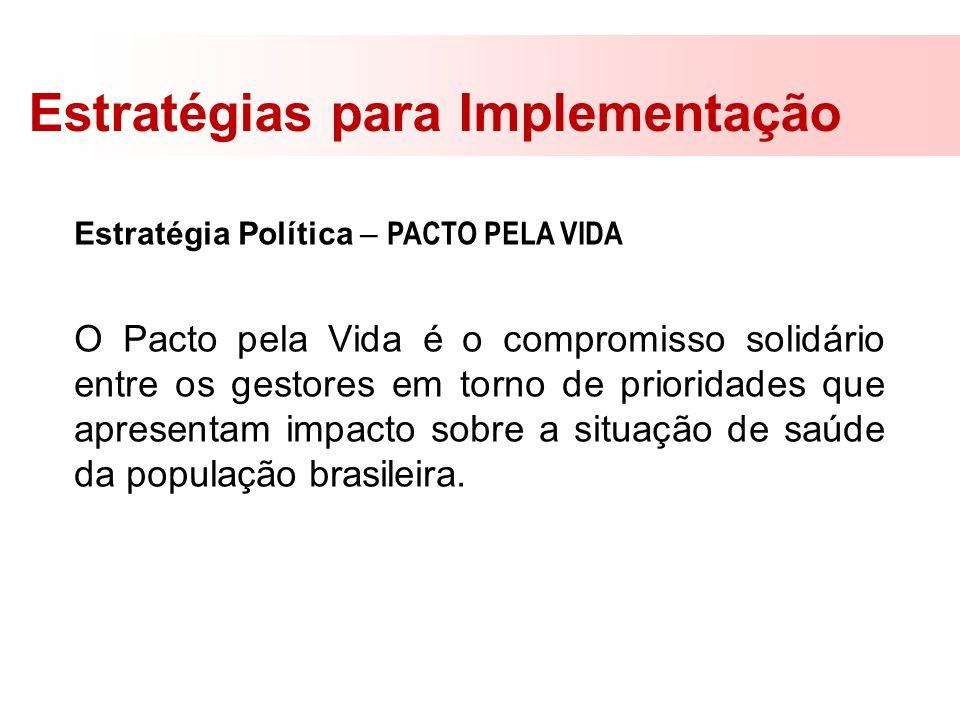 Estratégias para Implementação Estratégia Política – PACTO PELA VIDA O Pacto pela Vida é o compromisso solidário entre os gestores em torno de priorid