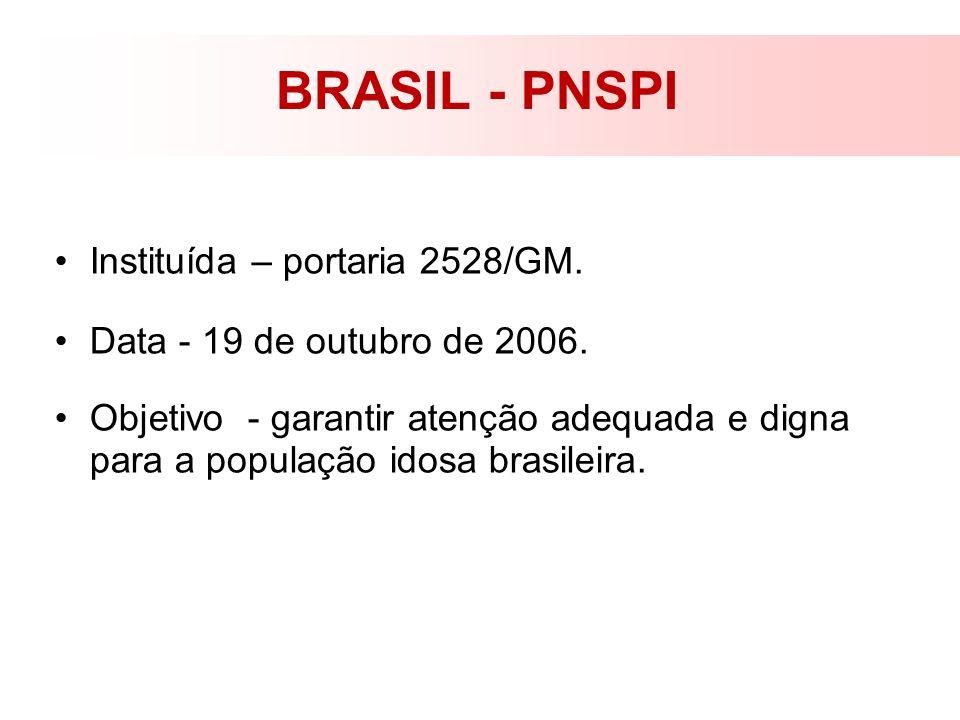 BRASIL - PNSPI Instituída – portaria 2528/GM. Data - 19 de outubro de 2006. Objetivo - garantir atenção adequada e digna para a população idosa brasil