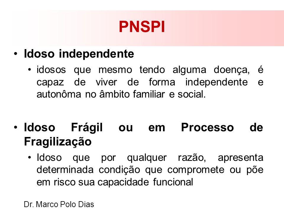 PNSPI Idoso independente idosos que mesmo tendo alguma doença, é capaz de viver de forma independente e autonôma no âmbito familiar e social. Idoso Fr