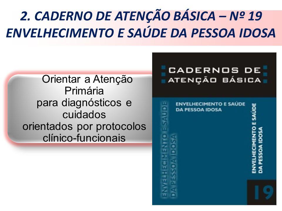 2. CADERNO DE ATENÇÃO BÁSICA – Nº 19 ENVELHECIMENTO E SAÚDE DA PESSOA IDOSA Orientar a Atenção Primária para diagnósticos e cuidados orientados por pr