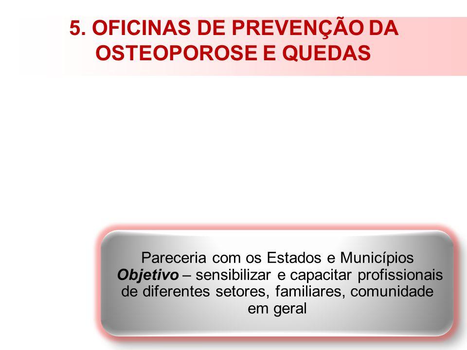 5. OFICINAS DE PREVENÇÃO DA OSTEOPOROSE E QUEDAS Pareceria com os Estados e Municípios Objetivo – sensibilizar e capacitar profissionais de diferentes