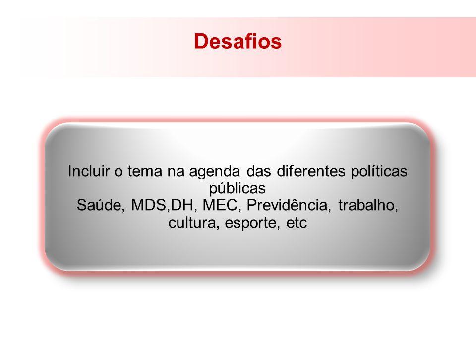 Desafios Incluir o tema na agenda das diferentes políticas públicas Saúde, MDS,DH, MEC, Previdência, trabalho, cultura, esporte, etc