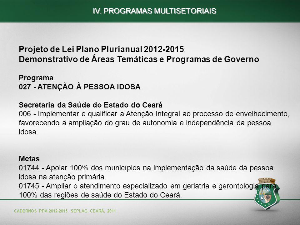 55 Projeto de Lei Plano Plurianual 2012-2015 Demonstrativo de Áreas Temáticas e Programas de Governo Programa 027 - ATENÇÃO À PESSOA IDOSA Secretaria