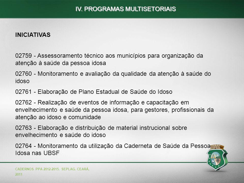 56 INICIATIVAS 02759 - Assessoramento técnico aos municípios para organização da atenção à saúde da pessoa idosa 02760 - Monitoramento e avaliação da