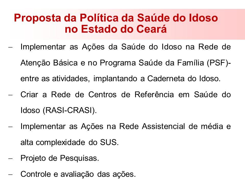 Proposta da Política da Saúde do Idoso no Estado do Ceará Implementar as Ações da Saúde do Idoso na Rede de Atenção Básica e no Programa Saúde da Famí