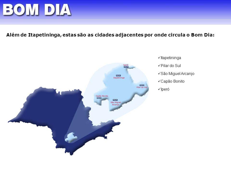 Além de Itapetininga, estas são as cidades adjacentes por onde circula o Bom Dia: Itapetininga Pilar do Sul São Miguel Arcanjo Capão Bonito Iperó